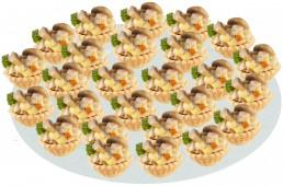 Тарталетка с копченой курицей, грибами и сыром