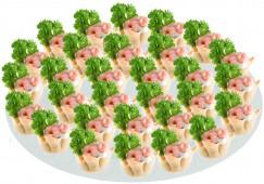 Тарталетка с кревет., твор. сыром и зеленью