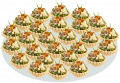 Тарталетка с марин. грибами, сыром и зеленью