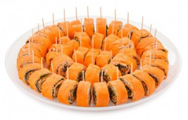 Рулетики со слив-м сыром и грибами
